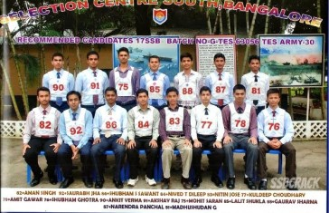 Recommended from 17 SSB Bangalore for TES-30 10+2 Army and NSB Coimbatore for 10+2 TES Navy