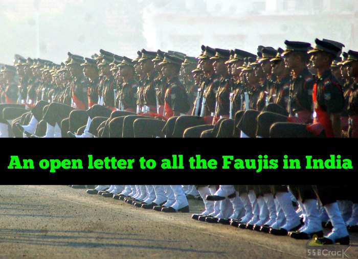 An open letter to all the Faujis in India
