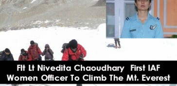Flt Lt Nivedita Chaoudhary  First IAF Women Officer To Climb The Mt. Everest