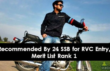 Recommended By 24 SSB for RVC Entry, Merit List Rank 1