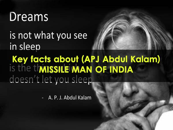 Key facts about apj abdul kalam missile man of india for Interesting facts about crack