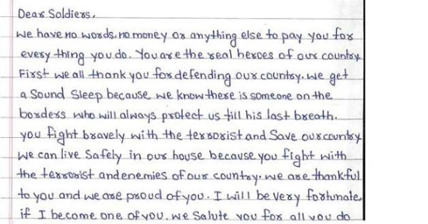 class v students sent a letter to indian army