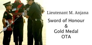 Lieutenant M. Anjana, Sword of Honour and Gold Medalist
