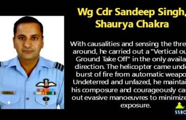 Wg Cdr Sandeep Singh, Shaurya Chakra