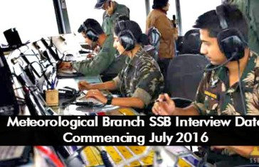 Meteorological Branch SSB Interview Date Commencing July 2016