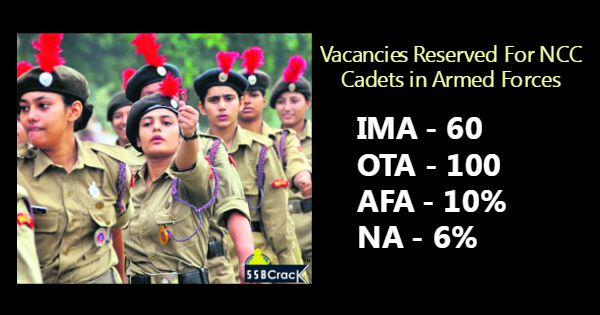 Vacancies Reserved For NCC Cadets In Armed Forces