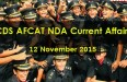 CDS AFCAT NDA Current Affairs 12 November 2015