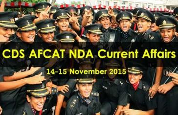CDS AFCAT NDA Current Affairs 14-15 November
