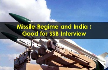 Missile Regime and India – Good for SSB Interview