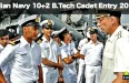 Indian Navy Recruitment 2016 10+2 B.Tech Cadet Entry
