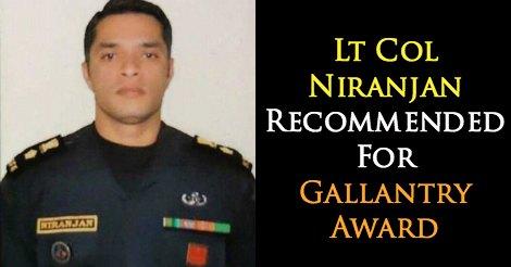 Lt Col E.K. Niranjan Recommended For Gallantry Award