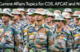 50 Current Affairs Topics for CDS, AFCAT and NDA