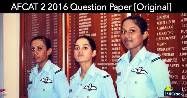 AFCAT 2 2016 Question Paper [Original]
