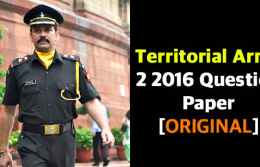 Territorial Army 2 2016 Question Paper [ORIGINAL]