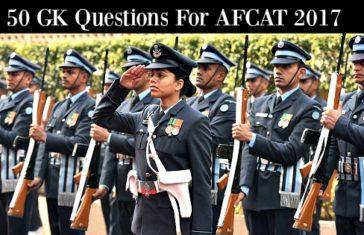 50 GK Questions For AFCAT 2017