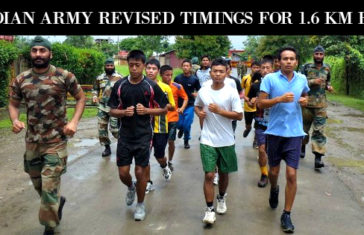 INDIAN ARMY REVISED TIMINGS FOR 1.6 KM RUN