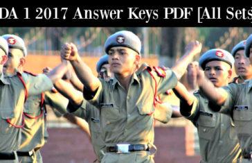 NDA 1 2017 Answer Keys PDF [All Sets]