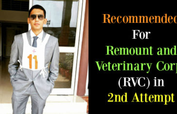 Recommended For Remount and Veterinary Corps (RVC) in 2nd Attempt From 34 SSB, Allahabad
