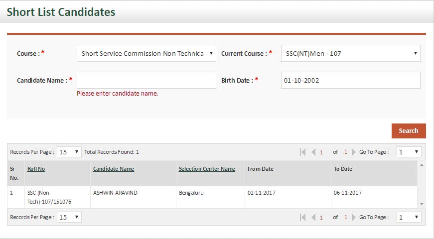 SSC 107 NT SSB Dates