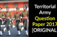 Territorial Army Question Paper 2017 [ORIGINAL]