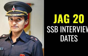 JAG 20 SSB INTERVIEW DATES