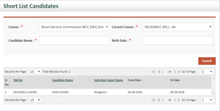 NCC 44 SSB Dates women