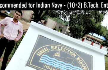 Recommended for Indian Navy - (10+2) B.Tech. Entry