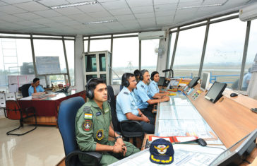 Air Traffic Controller and Fighter Controller in ATC Tower