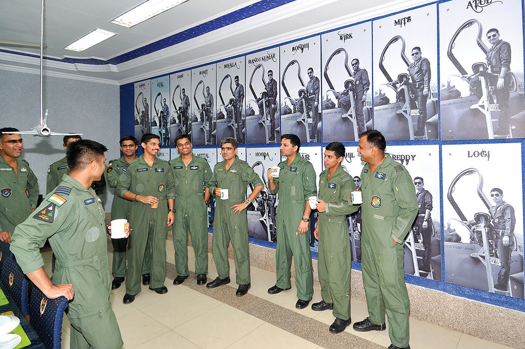 Fighter pilots in Aircrew room enjoying the coffee