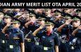INDIAN ARMY MERIT LIST OTA APRIL 2018