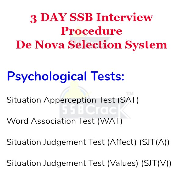 3 day ssb Psychological Tests