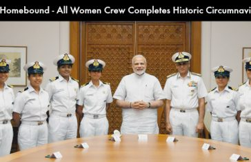 Crew of INSV Tarini With PM After Reaching India