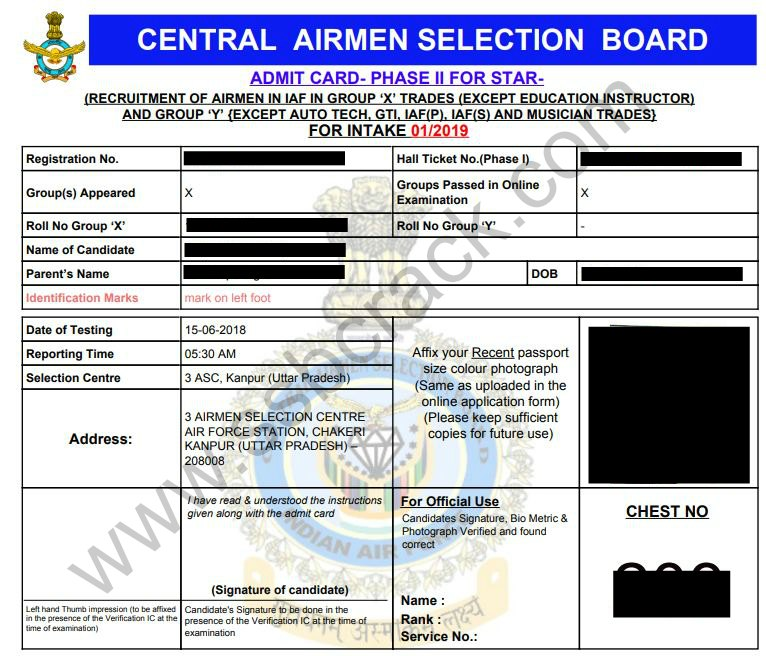 IAF Airmen Phase 2 admit card