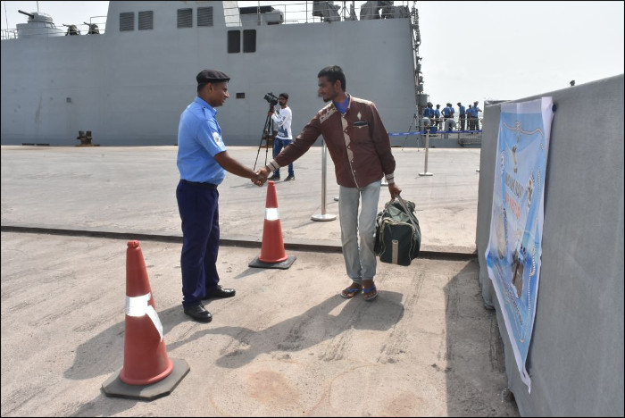 An Evacuee Thanking A Crew Member of INS Sunanya