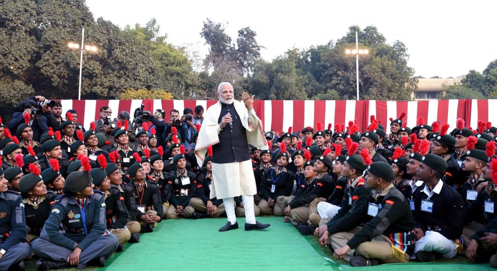 PM with NCC Cadets
