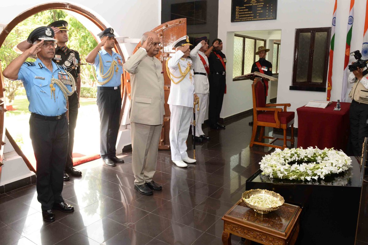 President Paying Tributes At Hut of Remembrance