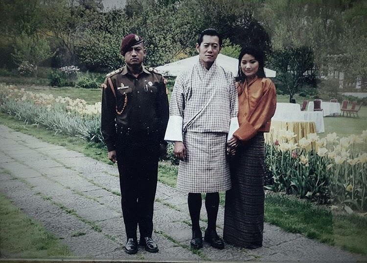 Captain Sangay Tsheltrim with Bhutan's King