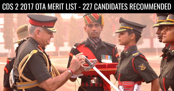 CDS 2 2017 OTA MERIT LIST - 227 CANDIDATES RECOMMENDED