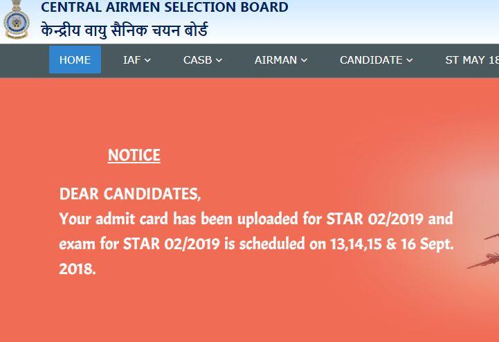 Airmen Admit Card Download 2019