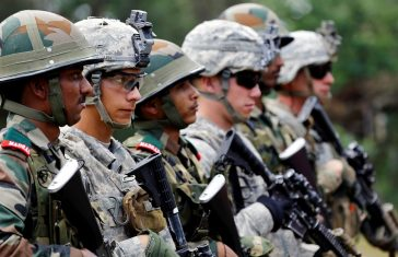 Indian and U.S. army soldiers take part in an Indo-US army joint combat exercise in Ranikhet, in the Himalayan state of Uttarakhand