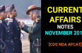 Current Affairs GK Notes November 2018 - CDS NDA AFCAT SSB Interview [PDF]