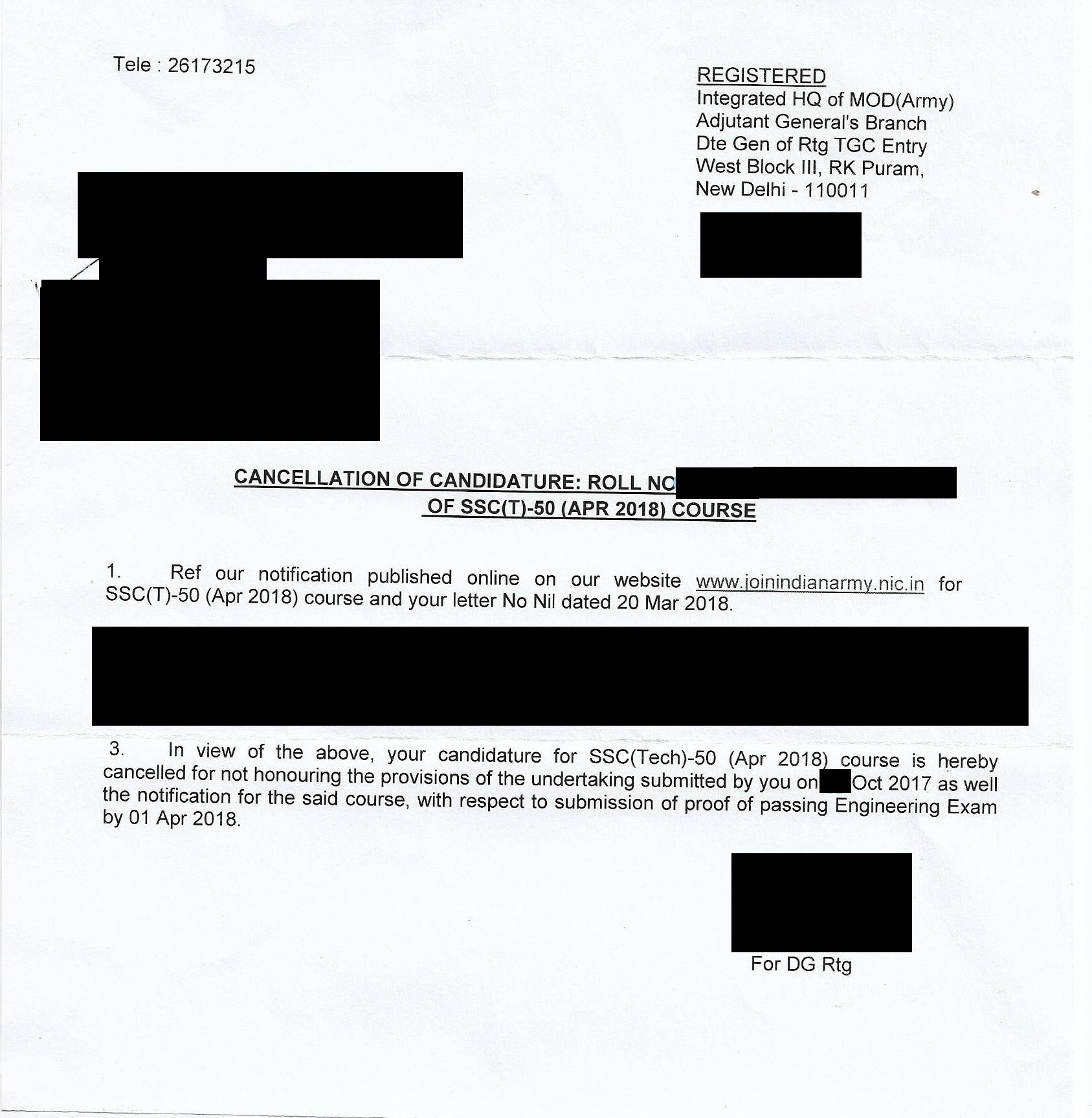 Candidature cancellation letter