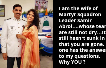 Heartrending Post By Wife Of Martyr Squadron Leader Samir Abrol