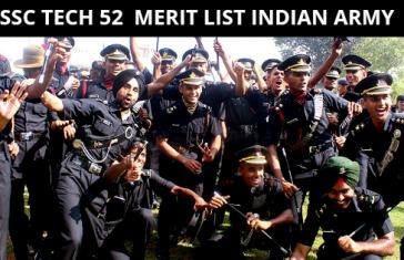SSC TECH 52 MERIT LIST INDIAN ARMY