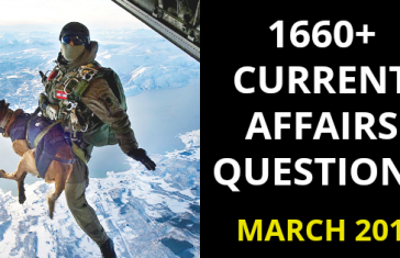 Current Affairs March 2019 For CDS NDA AFCAT SSB Interview [PDF]