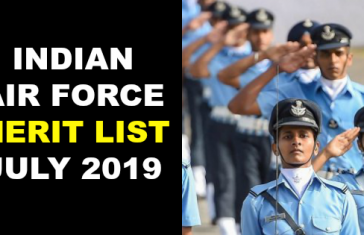 INDIAN AIR FORCE MERIT LIST JULY 2019