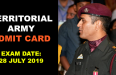 TERRITORIAL ARMY ADMIT CARD