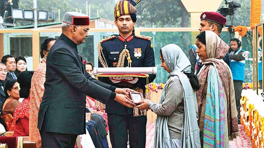 Corporal Jyoti Prakash Nirala's widow and mother received the Ashok Chakra awarded to him posthumously during the Republic Day Parade 2018