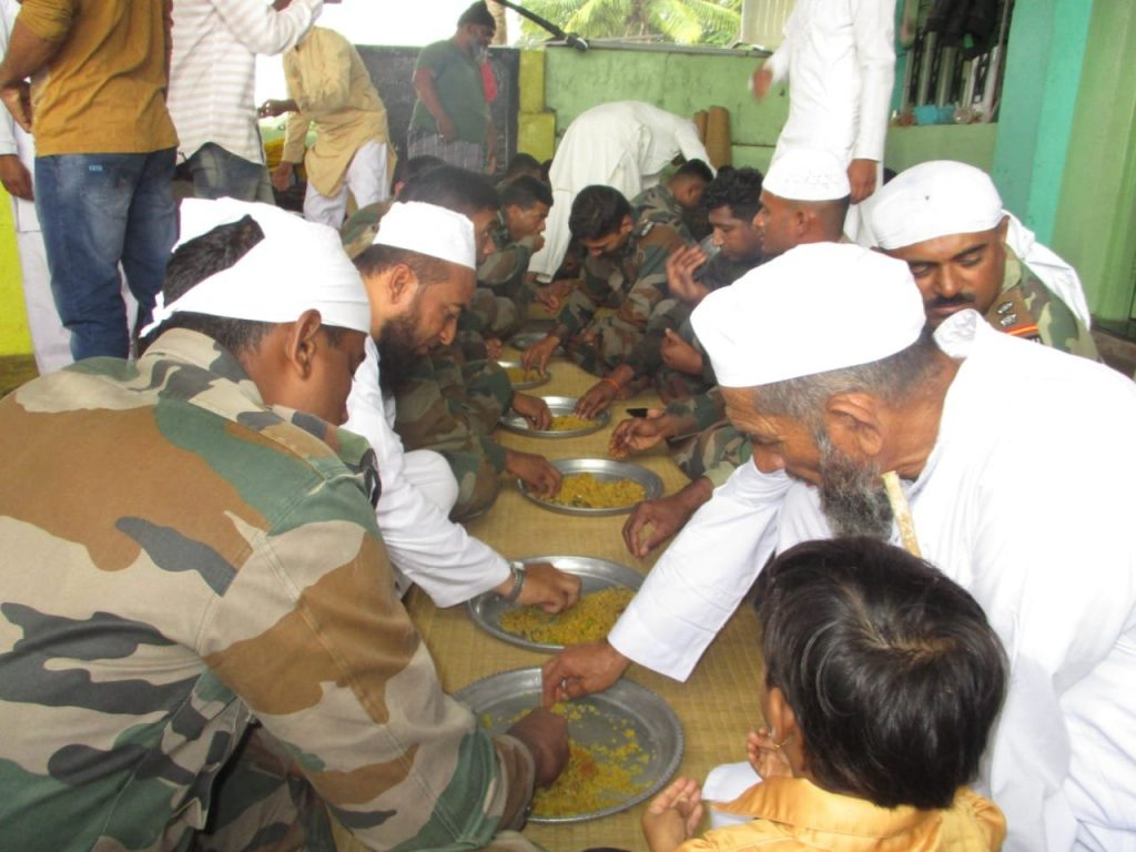 Major Rathore and his unit celebrating Eid with Locals