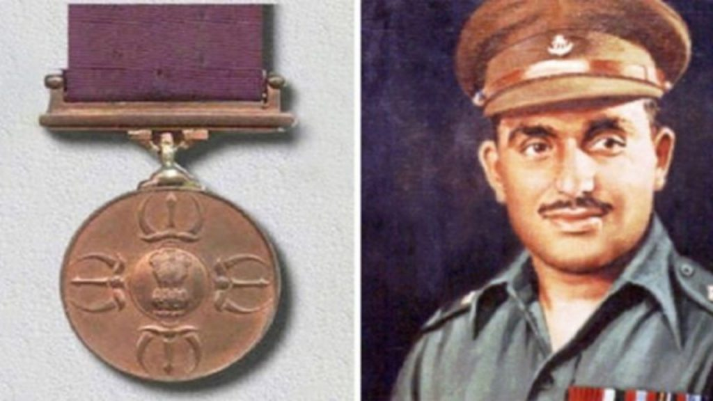 Picture of the PVC on the left with an image of Major Somnath Sharma the first recipient of the war time award on the left